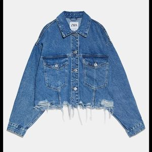 Zara oversized cropped denim jacket